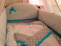 """Детское постельное белье в кроватку из 8 ед (+конверт на выписку)-""""Серый горох+горох"""". Без балдахина"""