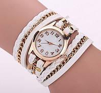 Часы наручные женские с белым ремешком код 161