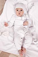 Крестильный набор для новорожденных из хлопка | Кофточка+ползунки+аксессуары