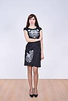 Стильное льняное платье вышитое роскошным кружевом короткий рукав
