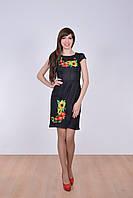 Стильное молодежное платье оригинального кроя с вышитыми полевыми цветами