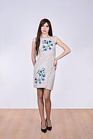 Стильное платье вышиванка из натурального льна украшено цветочным принтом