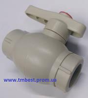 Кран шаровый диаметр 40 полипропиленовый с латунным шаром ППР(PPR) для перекрытия воды в системах.