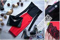 Платье обтягивающее красное с ажурной отделкой