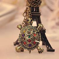 Кулон Черепаха с разноцветными камнями винтажная