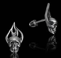 Серебряные байкерские мужские женские серьги для байкера Череп и Пламя 28020