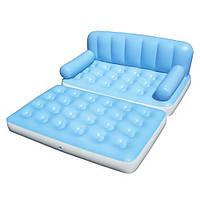 Надувной диван-кровать с сумкой и насосом (75038)