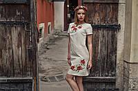 Женское вышитое платье Маки (короткий рукав)