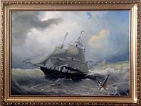 «Корабль в бурном море», копия старинной картины картина маслом