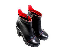 Женские кожаные ботинки ботильоны на тракторной подошве от производителя