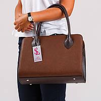 Коричневая женская сумка деловая прямоугольной формы