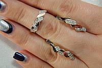 Набор серебряных украшений с золотом - колечко и серьги в форме косички