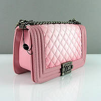 Розовая сумочка Chanel маленькая женская кожаная