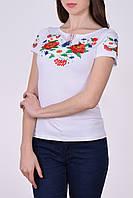 Женская легкая футболка вышиванка из мягкого трикотажа с цветочным принтом гладью