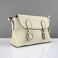 Сумка-портфель женская бежевая кожаная с ремешком