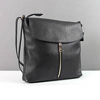 Кожаная черная сумка-планшет женская Viladi