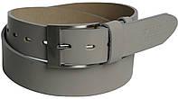Мужской кожаный ремень под джинсы PPW серый ДхШ: 118х4 см.