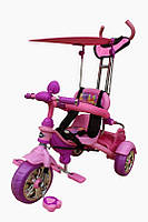 Детский велосипед трехколесный с ручкой Mars Trike KR01 аниме розовый