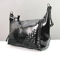 Наплечная черная сумка-багет женская лаковая