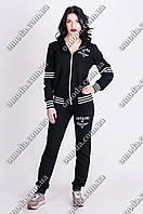 Женский спортивный костюм с капюшоном, черного цвета