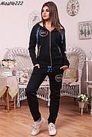 Женский теплый спортивный костюм на флисе синего цвета NM 222