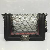 Женская сумка клатч Chanel Boy (Шанель Бой) 1135 черная с силиконовой вставкой