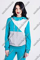 Женский голубой спортивный костюм с толстовкой