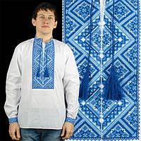 Мужская сорочка - синяя вышиванка из белого льна