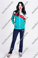 Бирюзовый женский эластиковый спортивный костюм  триколор