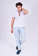 Стильная мужская футболка вышитая  с красным орнаментом