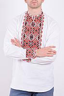 Праздничная мужская сорочка вышиванка из льна в традиционном чёрно-красном орнаменте