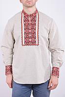 Торжественная льняная рубашка мужская с классическим украинским орнаментом