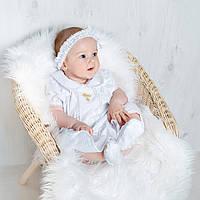 Платье для крещения девочки Машенька от Miminobaby от 12 до 18 месяцев, белое с золотой вышивкой