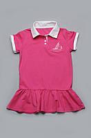 Детское летнее платье-туника из хлопка для девочки | Розовое