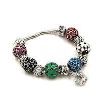 """Браслет в стиле Pandora (пандора) """"Цветы"""" разноцветная эмаль P061"""