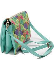 Клатч, сумка с цветочным принтом, мятного цвета