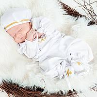 Крестильный костюм для мальчика Иванушка от Miminobaby от 3 до 6 месяцев, белый с золотой вышивкой
