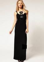 Длинное черное платье Karen Millen с колье KM70024