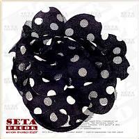 Брошь,заколка Цветок чёрная в белый горошек (резинка на волосы) из ткани