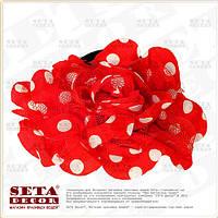 Брошь,заколка Цветок красная в белый горох  (резинка на волосы) из ткани