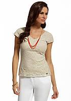Женская летняя блуза бежевого цвета с коротким рукавом. Модель 210051 Enny, весна-лето 2016.