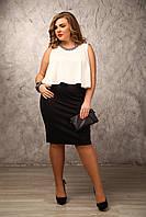 Юбка Джерси, черная, классическая, деловая, по колено, большого размера 48-94, батал