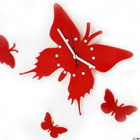 Настенные часы Бабочка, цвет красный