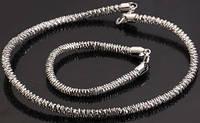 Набор: цепочка и браслет мужской белая позолота (GF794)