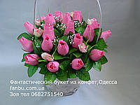 """Букет из конфет и бутонов роз""""Эмоции""""№21-розовые"""