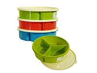 Контейнер для продуктов пластмассовый, три секции