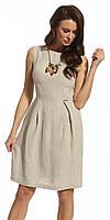 Женское льняное платье бежевого цвета без рукава. Модель 210020 Enny, весна-лето 2016.
