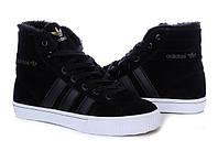 Зимние мужские высокие кроссовки Adidas AdiTennis High Fur, адидас с мехом черные
