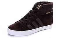 Зимние мужские высокие кроссовки Adidas AdiTennis High Fur, Адидас с мехом коричневые