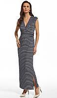Женское летнее платье макси темно-синего цвета в полоску. Модель 210038 Enny, весна-лето 2016.